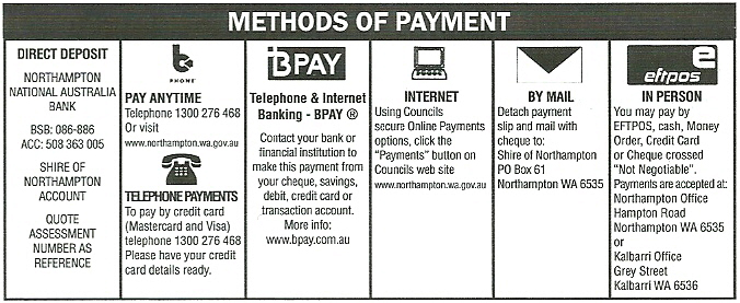 Rates payment options
